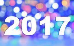 2017 em luzes coloridas do borrão Foto de Stock