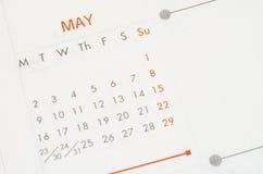 Em maio de 2016 calendário Foto de Stock Royalty Free