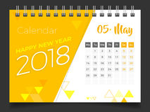 Em maio de 2018 Calendário de mesa 2018 Fotografia de Stock Royalty Free