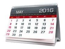 Em maio de 2016 calendário do desktop imagem de stock