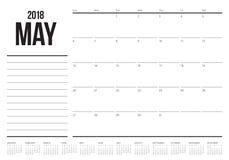 Em maio de 2018 ilustração do vetor do planejador do calendário Fotografia de Stock Royalty Free