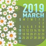 Em março de 2019 molde do calendário com sumário ilustração do vetor