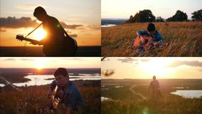 4 em 1: Menino nos vidros redondos que jogam a guitarra em um campo no por do sol vídeos de arquivo