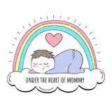 Em meu coração do ` s da mãe Ilustração do vetor Bebê e arco-íris Fundo bonito ilustração do vetor