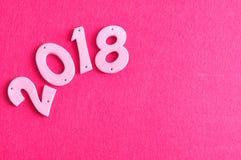 2018 em números cor-de-rosa Imagens de Stock