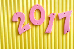 2017 em números cor-de-rosa Fotografia de Stock
