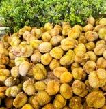 Em novembro de 2017 - Banguecoque, Tailândia - mercado asiático aberto em Banguecoque onde o Durian fresco é abundante fotografia de stock royalty free