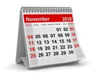 Em novembro de 2018 - calendário ilustração do vetor