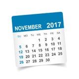 Em novembro de 2017 calendário Imagem de Stock