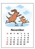 Em novembro de 2018 calendário ilustração do vetor