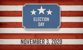 Em novembro de 2020 data das eleições, fundo do conceito da bandeira americana dos E.U. ilustração royalty free