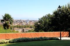 Parede memorável em cima do monte de Janiculum em Roma, Italia Foto de Stock