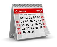 Em outubro de 2018 - calendário ilustração do vetor