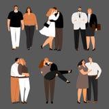 Em pares do amor, mais o grupo do vetor das mulheres do tamanho e dos homens ilustração stock