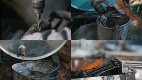 4 em 1: Processo industrial - líquido do drainin da máquina de perfuração filme
