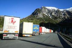 Em repouso parada estacionada caminhões Imagens de Stock