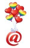 Em-símbolo com balões do coração Imagens de Stock