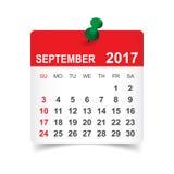 Em setembro de 2017 calendário Imagem de Stock Royalty Free