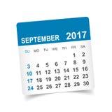 Em setembro de 2017 calendário Imagens de Stock Royalty Free