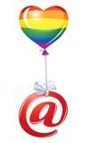 Em-símbolo com o balão do coração do arco-íris Foto de Stock Royalty Free