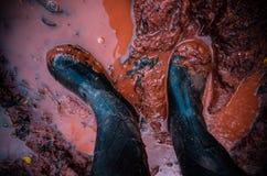 Em toda parte caminhantes - botas em águas enlameadas fotos de stock royalty free