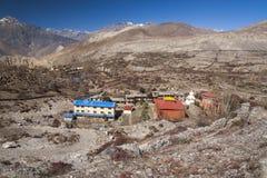 Em torno da vila de Muktinath Imagem de Stock