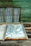 Em torno de Belakang Padang 14 - parede de madeira colorida Foto de Stock Royalty Free