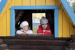 Em um campo de jogos no outono Fotos de Stock Royalty Free