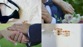 4 em 1: Um casal que guarda as mãos após o casamento vídeos de arquivo