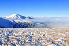 Em um dia de inverno claro, de um vale da neve pulverizado com neve imagem de stock royalty free