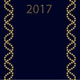 2017 em um fundo azul com linhas sob a forma do ADN ilustração royalty free