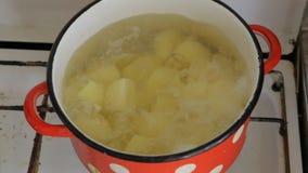 Em um potenciômetro vermelho velho, as batatas são fabricadas cerveja video estoque