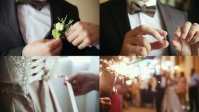 4 em 1: Um processo do casamento A noiva que põe sobre o espartilho, um noivo do homem novo que guarda os anéis filme