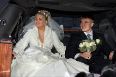 Em uma limusina Foto de Stock Royalty Free