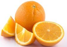 Em volta de e laranja cortada Fotos de Stock