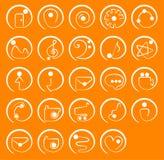 Em volta de um grupo do ícone do curso Imagens de Stock Royalty Free