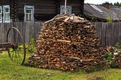 Em volta do woodpile Fotografia de Stock
