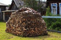 Em volta do woodpile Fotos de Stock
