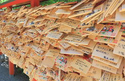 Ema, ιαπωνικές ξύλινες πινακίδες επιθυμίας Στοκ Φωτογραφίες