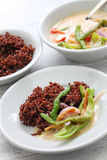 Ema datshi with red rice,bhutanese cuisine Stock Photo