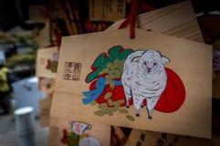 Ema em um templo de Kiyomizu em Kyoto, Japão Foto de Stock Royalty Free
