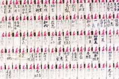 Ema - japanese envelopes for writing something desired in the temple, Kyoto, Japan. Close-up. Ema - japanese envelopes for writing something desired in the Royalty Free Stock Image