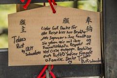 Ema Lub Drewniane Życzy deski Przy Kiyomizudera świątynią Przy Kyoto Japonia 2015 zdjęcie stock