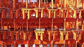Ema prayer tables with unique Torii gates boards at Fushimi Inari Taisha Temple, Kyoto. stock video footage