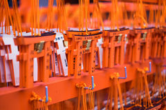 Ema prayer tables with unique Torii gates boards at Fushimi Inari Stock Photo