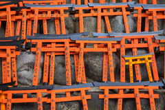 Ema prayer tables with unique Torii gates boards at Fushimi Inari Taisha Temple. KYOTO, JAPAN - MARCH 24, 2016 : Ema prayer tables with unique Torii gates boards Royalty Free Stock Photo