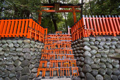 Ema prayer tables with unique Torii gates boards Stock Photos