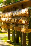 Ema Wooden Tag Plaques Wishes Todai-Ji Angled V Stock Image