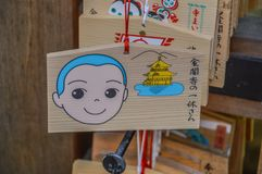 Ema Wooding Wishing Boards From de Tempel kinkaku-Ji in Kyoto Japan 2015 stock foto