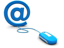 Email. 3d illustration of computer mouse connected to email sign Royalty Free Stock Photo